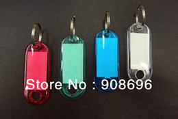 Wholesale Card Inserts Free - 100pcs Blank Crystal Rectangle Keychains luggage tag Insert Photo Keyrings key card number-Free Shipping