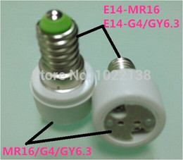 Wholesale G4 Led Holder - Hot 10pcs E14 TO MR16 LED socket adapter E14 TO G4 LED bulb base extender E14 TO GY6.3 Lamp holder E27-MR16 Converter Free Ship