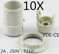 adaptateur de lampe achat en gros de-10pcs / lot E14 Lampholder- LED edison vis adaptateur-plastique Socket Converter-Light ampoule porte-lampe avec anneau