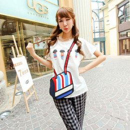 Wholesale 3d Cartoon Style Shoulder Bag - 3D Jump Style 2D Drawing From Cartoon Paper Bag Comic 3D Shoulder Bag