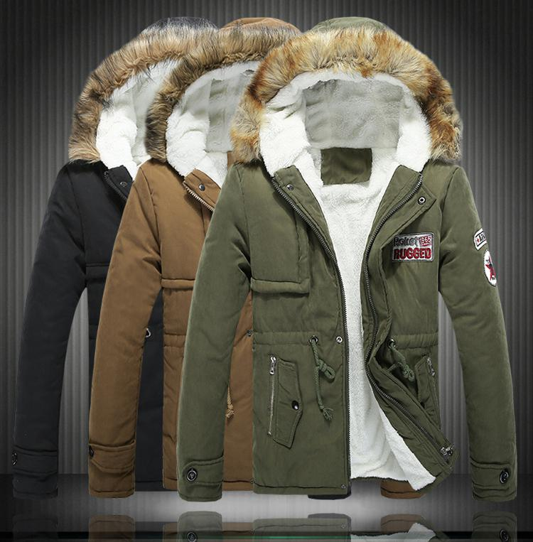 Big Size S-6XL Winter Russian Mens Fur Coat Army Green Outwear ...