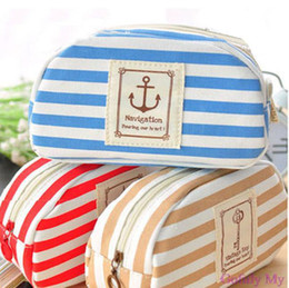 China Multifunction New Stripe Navy Makeup Bag Pencil Case Cosmetic Pouch Purse Canvas Gofuly 2015 Hot Fashion cheap cosmetic bag stripe suppliers