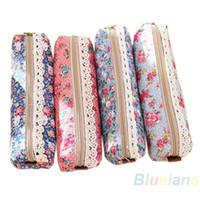 Wholesale flower pencil cases - Fashion Mini Retro Flower Floral Lace Pencil Shape Pen Case Cosmetic Makeup Make Up Bag Zipper Pouch Purse 1DCS