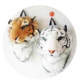 Wholesale Lion Backpack For Kids - 2015 3D Tiger Head Backpack Cartoon Animal Lion Bags White Women Men Casual Daypacks for Travelling Kids Bags Bolsas Hot Sale