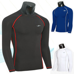 Camisas Corrientes Baratos Baratos-¡Camiseta Al por mayor-Caliente! Spandex Running Tights Hombres Bodybuilding Fitness T-Shirt Traje de entrenamiento Trajes de jogging baratos Compression Running Jacket