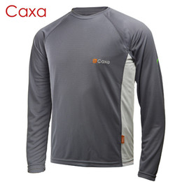 Wholesale Uv Protection Shirts - Wholesale-Caxa Brand Coolmax Hiking T-shirt Men Quick Dry Breathable Uv Protection UPF50+ For Summer Hiking Camping Cycling Free Shipping
