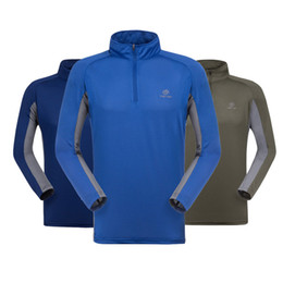 Xxl Camping Hiking T Shirts Canada - Wholesale-Summer Men fast dry sport Hiking camping T-shirt anti uv fishing clothing quick drying Breathable Long sleeve Absorb sweat shirt