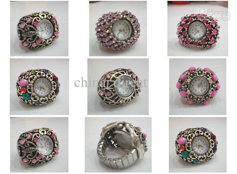 Elastyczna kwarcowa pierścionek zegarek z pierścienia klejnotowego Zegarek 30 sztuk / partia