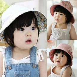 Wholesale Infant Baby Bucket Hat Wholesale - 5M-3Y Princess Baby Infant Lace Hat Reversible Floral Bowknot Flower Bonnet Hats Sun Cap Bucket Freeshipping