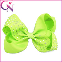 """Wholesale Neon Clip Hair Accessories - New 5"""" Grosgrain Ribbons Hair Bow With Clip For Baby,Boutique Rhinestone Hair Bows Neon Hairbow Hair Accessories Free Shipping"""
