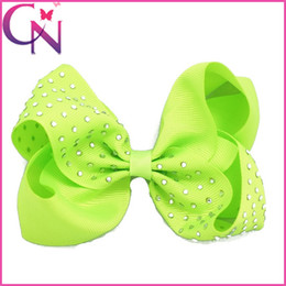 "Wholesale Neon Clip Hair Accessories - New 5"" Grosgrain Ribbons Hair Bow With Clip For Baby,Boutique Rhinestone Hair Bows Neon Hairbow Hair Accessories Free Shipping"
