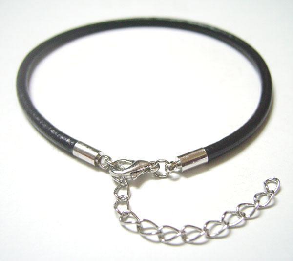 10 stks / partij Zwart Lederen Armbanden Beaded Strands voor DIY Craft Mode-sieraden Gift 7.8 inch C23 *