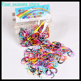 Wholesale Elastic Hair Ties Bracelet - Girl colorful patchwork rubber band hair rope loombands elastic accessories tie gum for hair silicon DIY bracelet braided