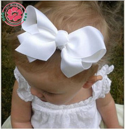 Wholesale Wholesale Large Hairbows - 20pcs lot 5.5 Inch Large Baby Ribbon Hairbows Hairpin Girl Hair Bow With Clip Kid Hair Clip Boutique Hair Accessories Turban 588