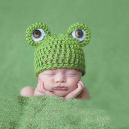 Wholesale Crochet Models - Cute Photo Studio Kid Baby Garment Handmade Knitting Frog Hat Modelling