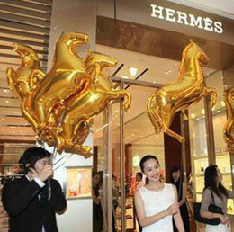 Wholesale Helium Balloons Seal - 50Pcs Lot High Quality Gold Horse Automatic Sealing Aluminum Foil Balloons Birthday Party Decorations Helium Balloon Inflatables