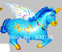 Wholesale Unicorn Balloon - Free shipping 50pcs lots wholesale high-quality foil balloon helium balloon , Unicorn , Pegasus large pink blue 75cmX61cm