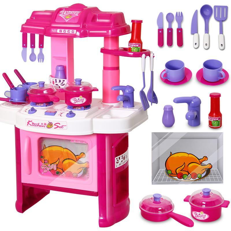 2019 Girls Kitchen Toys Set Kid Kitchenware Cooking Baby Girl