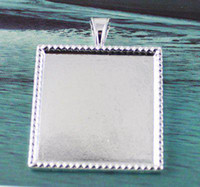 Wholesale Silver Plated Pendant Trays - 50Pcs 1 INCH Cabochon Settings Pendant Trays glue on bail picture frame Charms 25MMX25MM