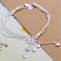 Wholesale Wholesale Silver Braclets - Wholesale-Fashion Charm 925 sterling Silver Muti Line Bracelets Snake Chain Hearts Braclets For Women Jewelry Pulseras de Plata 925 H067