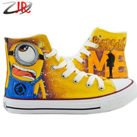 Wholesale Wholesale Canvas Shoes Paint - Despicable Me 2 One Eye Minion Style Adult Canvas Shoes for Men And Women Sneaker Hand-painted Sneakers High Lace-up Size 35-43