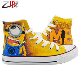 Wholesale Hand Painted Shoes Wholesale - Despicable Me 2 One Eye Minion Style Adult Canvas Shoes for Men And Women Sneaker Hand-painted Sneakers High Lace-up Size 35-43