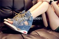 Wholesale Denim Wedges Sneaker - 2015 high quality lady Booties Height Increasing Women Sneakers Designer Wedge Heels Women Motorcycle denim Fashion Sneakers
