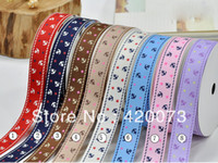 """Wholesale Star Printed Grosgrain Ribbon - Wholesale-100Y lot 5 8"""" Navy Style print anchor and red stars grosgrain ribbon DIY accessories cnpr13062902"""