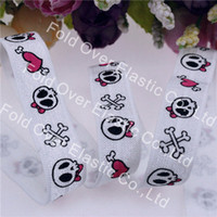 "Wholesale Elastic Ribbon Rolls - Wholesale-New arrival! 5 8"" skull & bow tie printed fold over elastic foe ribbon #029-white for DIY accessories, 100yards roll"