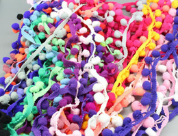 "Wholesale Crafts Sew - Wholesale-100 yards mix color Pom Pom Trim Ball Fringe 1"" Wide Sewing Craft DIY Crafting Hair Accessories Packaging Card Making"