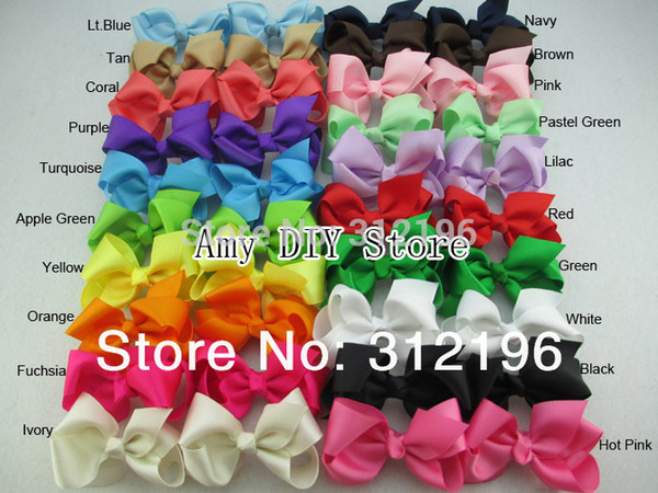 Wholesale-Free Shipping!40pcs/lot Baby Grosgrain Ribbon For Hair Bows WITHOUT Clips,3'' Hairbows For Girl Accessories(40 Colors