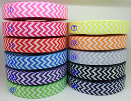 Wholesale New Ribbon Grosgrain Printed - Wholesale-New arrival 7 8'' Free shipping chevron print 11 colors printed grosgrain ribbon hairbow diy party decoration wholesale