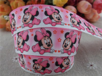 Wholesale Grosgrain Ribbon Mice - Wholesale-hot sell new arrival 1'' (25mm) minnie mouse printed grosgrain ribbon pink ribbon hairbow ribbon 10 yards tape
