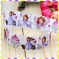 Wholesale Printed Princess Grosgrain Ribbons - Wholesale-7 8'' Free shipping sofia the first princess printed grosgrain ribbon hairbow diy party decoration wholesale OEM 22mm B378