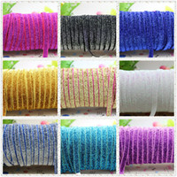 Wholesale Best prices ELASTIC Glitter Velvet Ribbon y color YOU PICK COLOR party decoration mm