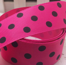 "Wholesale Grosgrain Ribbon Printed Dot - Wholesale-Free shipping 1"" (25mm) Grosgrain ribbon Polka Dots printed rose ribbon with black dots, DIY hairbow accessories, gift"