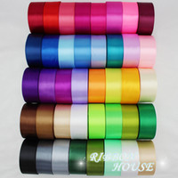 Wholesale Wholesale Webbing Rolls - Wholesale-(25 yards roll) 40mm Single Face Satin Ribbon Webbing Decoration Gift Christmas Ribbons