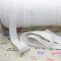 élastique plié achat en gros de-Vente en gros-5/8 pouces Livraison gratuite de haute qualité plier sur élastique FOE WHITE couleur ruban bandeau décoration de bricolage en gros OEM P2125