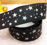 "Wholesale Grosgrain Ribbon Stars - Wholesale-Free Shipping 1"" (25mm) width, star printed black ribbon Polyester Grosgrain ribbon, DIY hairbow accessories, gift package"
