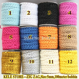 Wholesale ribbon 6mm - Wholesale-Free shipping--Zig zag Ric rac Ribbon Tape ,width 5-6mm ,100m roll, for DIY accessories for Decorateing ,please choose color