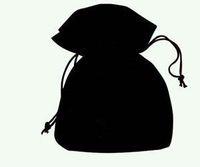 artesanías de terciopelo al por mayor-Envío gratis 100 unids / lote bolsas de regalo de la joyería de terciopelo negro bolsas para regalo de joyería de moda artesanal B06
