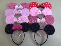Wholesale Minnie Party Supplies - Wholesale-10 pcs kid's hair accessories party cospaly headband Minnie Mouse Blk Pink Polka Dots Bow Ears Birthday supplies