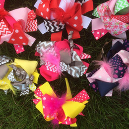 Wholesale Holiday Boutique Hair Bows - Factory sale 6inch holiday thanks giving halloween christmas baby girl hair bows Large Boutique Hair Bow with Feather