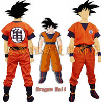 Wholesale dragon ball z goku costume - Free Shipping Dragon Ball Z costume Goku costume Kids Adult Cosplay Costume party supplies Full set coat + pant+shoe cover+belt