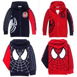 Wholesale Boys 3t Jacket - Spider Man Clothes 2Y-8Y Kids Boys Sweatshirt Hoodies Jacket Coat Outwear