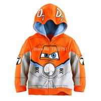 мужские куртки оранжевые оптовых-Пыльный самолет мальчики толстовки куртка / мультфильм дети 2-8 Т хлопок с длинным рукавом оранжевый кофты пальто / Детская верхняя одежда одежда