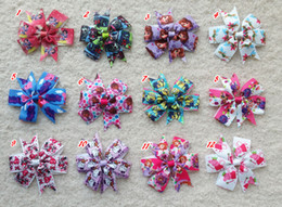 """Wholesale Minions Clips - 20pcs 3.5"""" kid Baby Girl sofia Snow White Monster High princess kitty Minions Doc Mcstuffins ribbon hair bow clip accessories"""