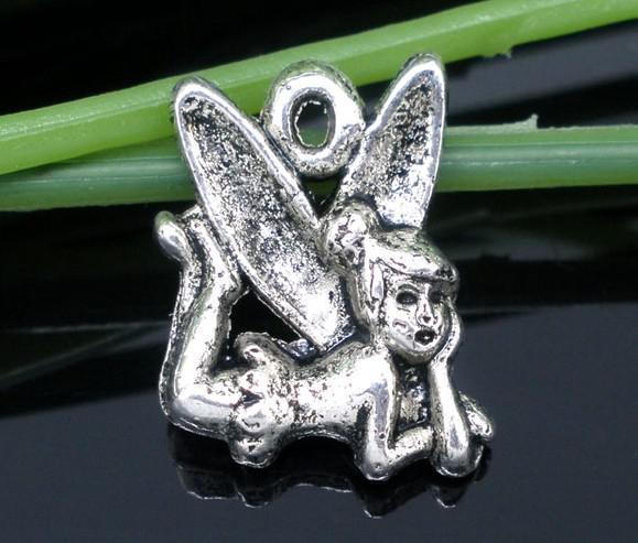 Pendenti di fascini di Fata tono argento 100pz 17x13mm