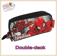 Wholesale Wholesale Zip Pencil Bags - Wholesale-Free Shipping Double-zip Kid The Amazing Spider-Man 2 School Pencil Bag Boy Student Super SpiderMan Case Box Gift For Children