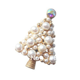 Wholesale Gold Plated Christmas Tree Brooch - Gold Plated Ivory Pearl Decorated Small Christmas Tree Brooch Pin Gifts